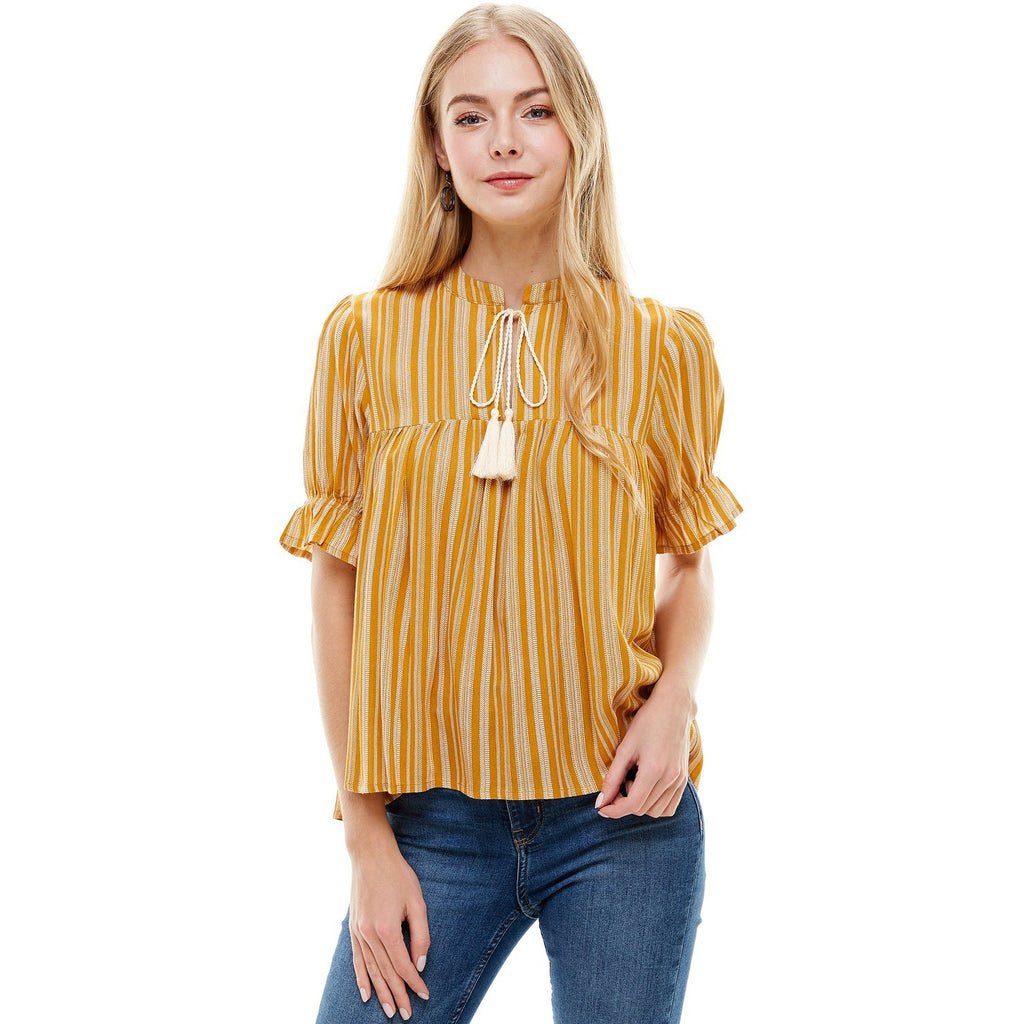 Linear Print Tassel Tie Baby Doll Top