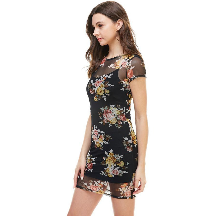 FLORAL INNER LINED MOCK NECK CAP SLEEVE FITTED