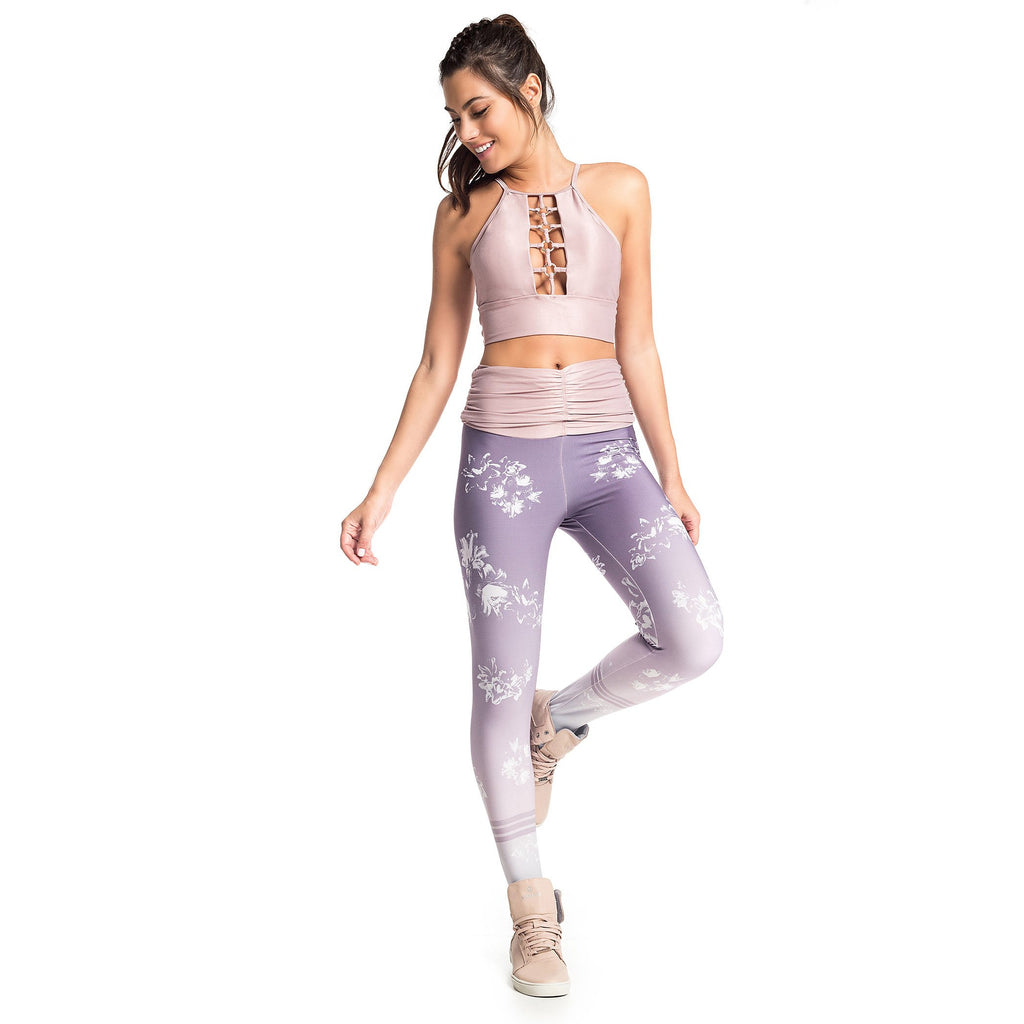 LILAC FLOWERS SUBLIMATED LEGGINGS