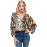 Animal Print Dolman Sleeves Surplice Blouse