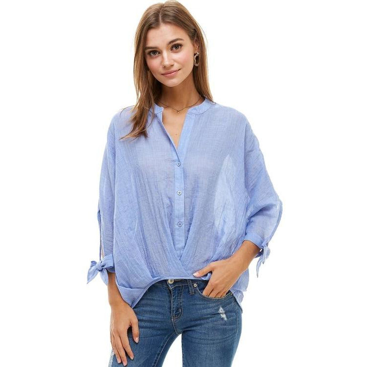 Hi Low Tie Sleeve Button Down Shirts