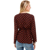 Polka Dot Print Cinched Chest 3/4 Sleeves Hi-Low
