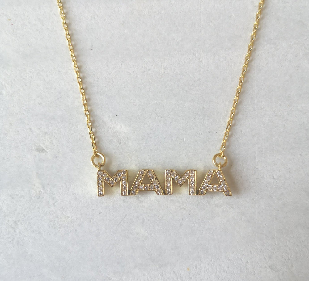 Crystal Mama necklace (block letter)