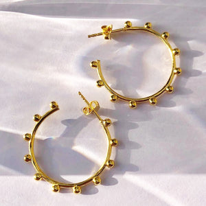 Jodie - Ball Hoops In Yellow Gold