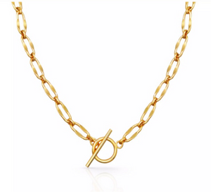 New! Jodie-Gold T-Bar Necklace