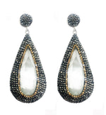 Large Gemstone Drop Earrings in white