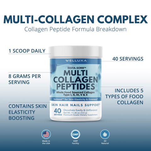 Welluxa Multi-Collagen Peptides Powder with Dermaval - Type I, II, III, V, X