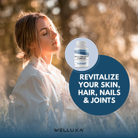 Welluxa Multi-Collagen Peptide Capsules with Dermaval - Type I, II, III, V, X