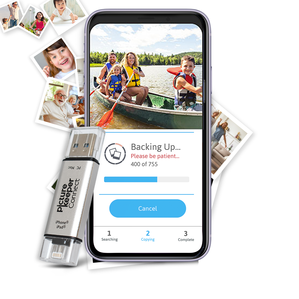 Picture Keeper (64GB) iPhone, iPad or Android phone and tablet - Save up to 16,000 photos, videos and contacts