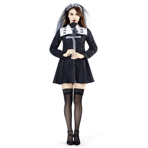 Women Halloween Dress Horror Ghost Nun Cosplay Costume Clothes Masquerade Funny Dress