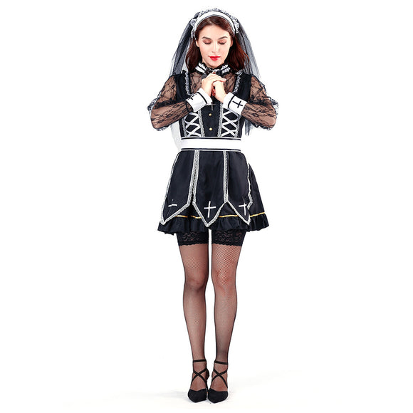 Women Halloween Ghost Nun Fancy Dress Cosplay Costume Masquerade Clothes