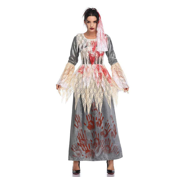 Women Halloween Bloody Bride Gothic Scary Witch Cosplay Costume Horror Vampire Maxi Dress Carnival Party Costume