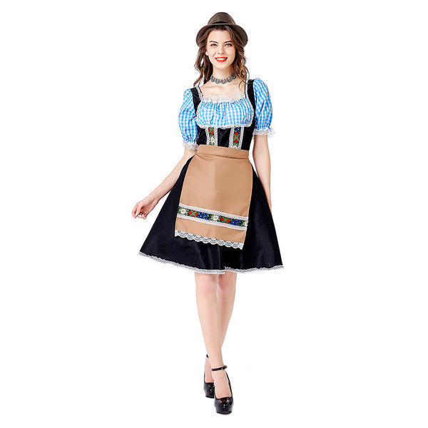 Women Oktoberfest Carnival Dirndl Costume Tavern Wench Waitress Maid Bar Outfit Cosplay Halloween Fancy Party Dress