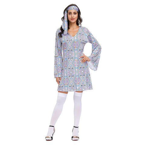 Women Halloween 60s 70s Retro Disco Hippie Costume Vintage Go Go Girl Disco Hippie Dance Dress