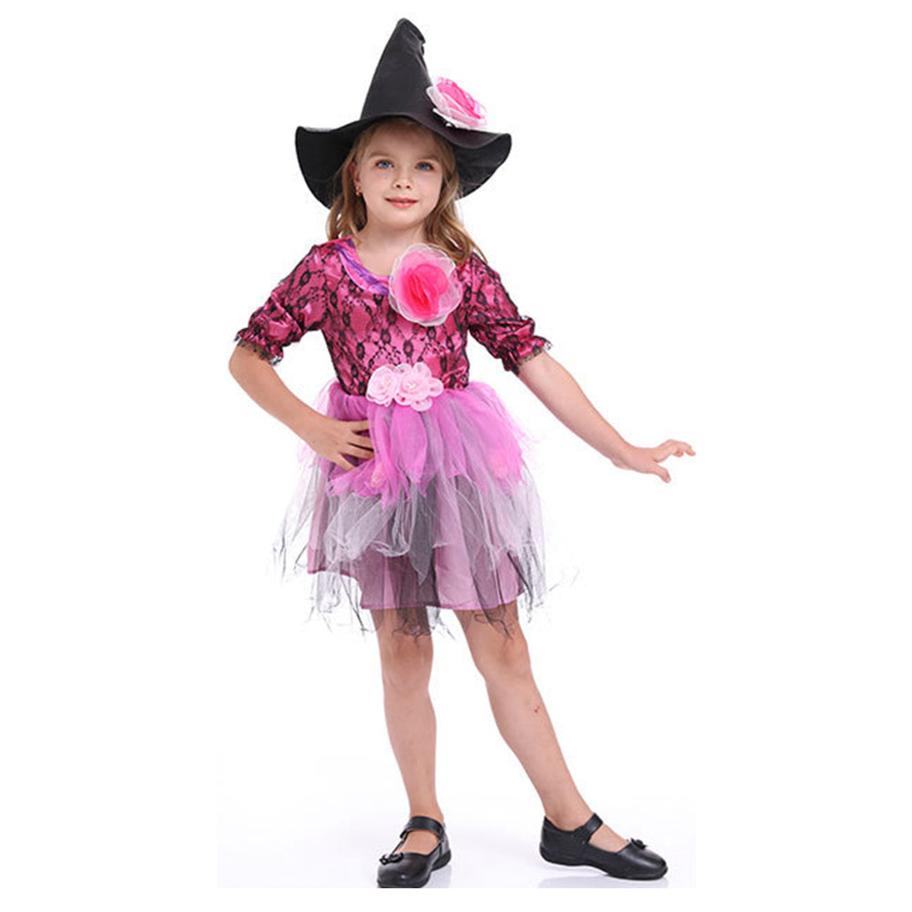 Kids Halloween Witch Costume Girls Cosplay Carnival Party Mardi Gras Costumes Fancy Dress