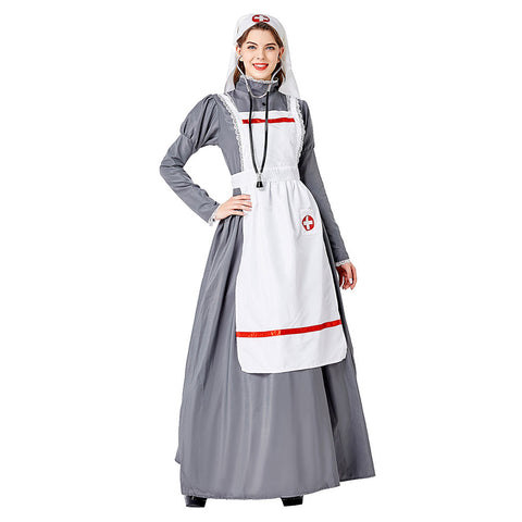 Women Halloween Medieval Doctor Nurse Dress Cosplay Costume Clothes Masquerade Funny Dress