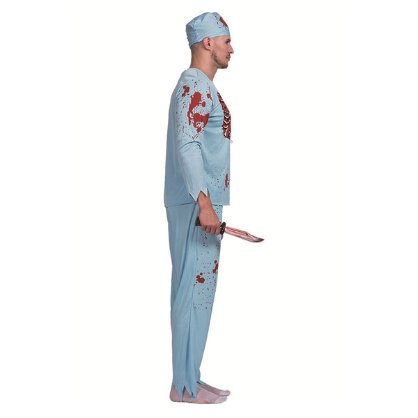 Men Halloween Doctor Zombie Bloody Surgeon Costume Carnival Party Fancy Outfits Scary Bone Cosplay Costumes