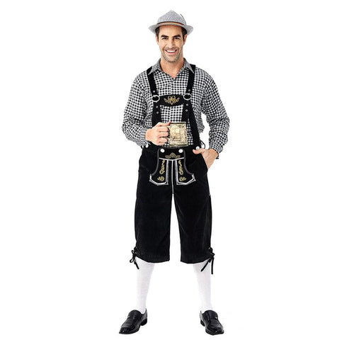 Men German Bavarian Oktoberfest Costume Set for Halloween Dress Up Party and Beer Festival