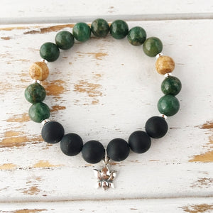 I Am Patient and Grounded Bracelet, African Jade,