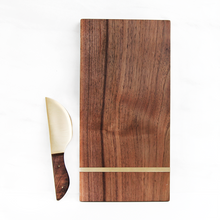 Reclaimed Walnut Cheese Board & Brass Cheese Knife | Black Friday Bundle - Crater Made Home