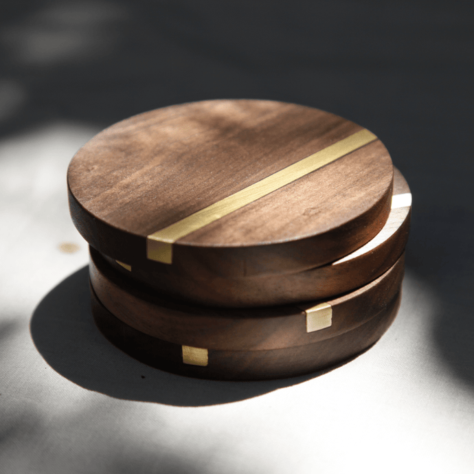 Reclaimed Wood Coasters | Solid Brass Inlay - Crater Made Home