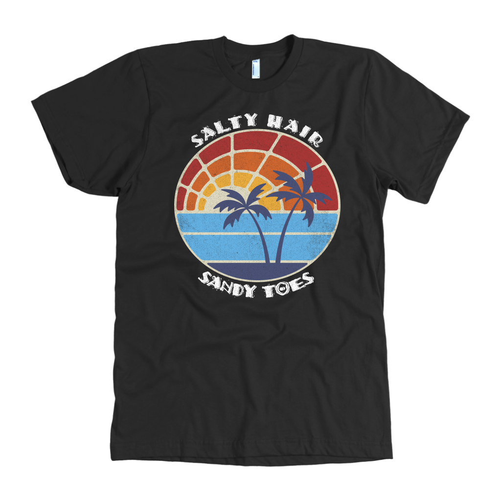 Salty Hair Sandy Toes, retro vintage look shirt and tank-top for men and women