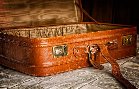 leather luggage, packaging, travel
