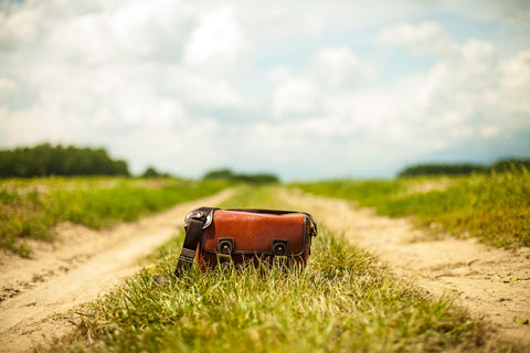 Leather bag on grass
