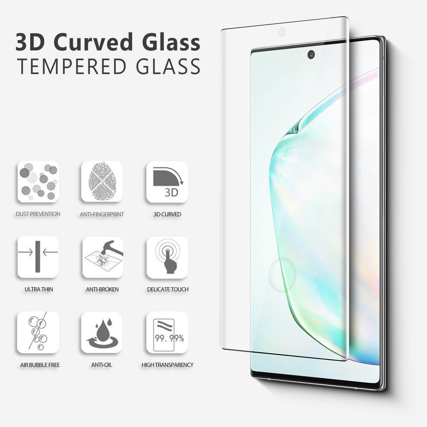 Screen Protector Tempered Glass for Samsung Galaxy Note 10 - Burkley Case