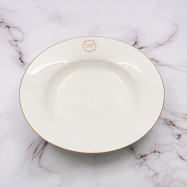 "Set of 4, Elegant Fine Bone China White 9"" Moon shape Salad/Soup Plate with gold line"