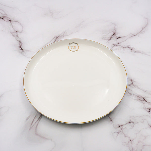 "Set of 4, Elegant Fine Bone China 8"" White Moon shape Dessert Plate with gold line"