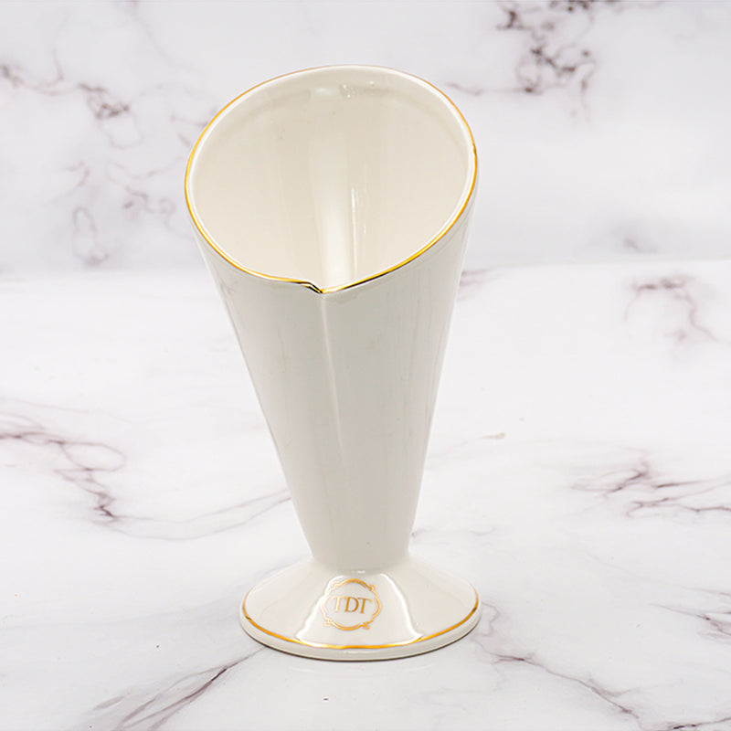 Set of 1, Elegant Porcelain White Cone Shape French Fries Cup with gold line