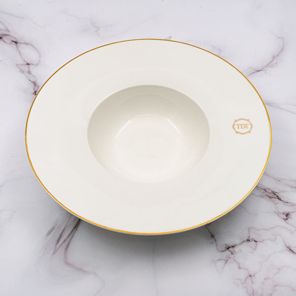 Set of 4, Elegant Porcelain White Fancy Soup/Salad Bowl with golden line