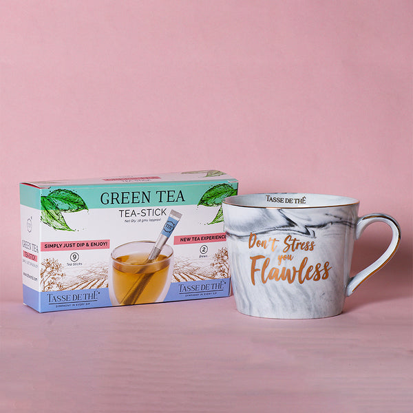 FREE Tea Stick Box with Porcelain Grey Marble Mug
