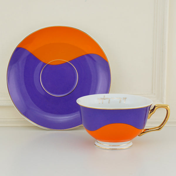 Bold & Bright Black Mug (500ml) with Designer Golden Handle