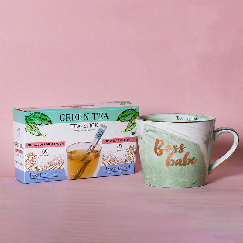 FREE Tea Stick Box with Porcelain Green Marble Mug