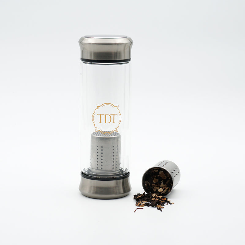 Double Walled Borosilicate Silver Cap Glass Tea Infuser, 300ml.