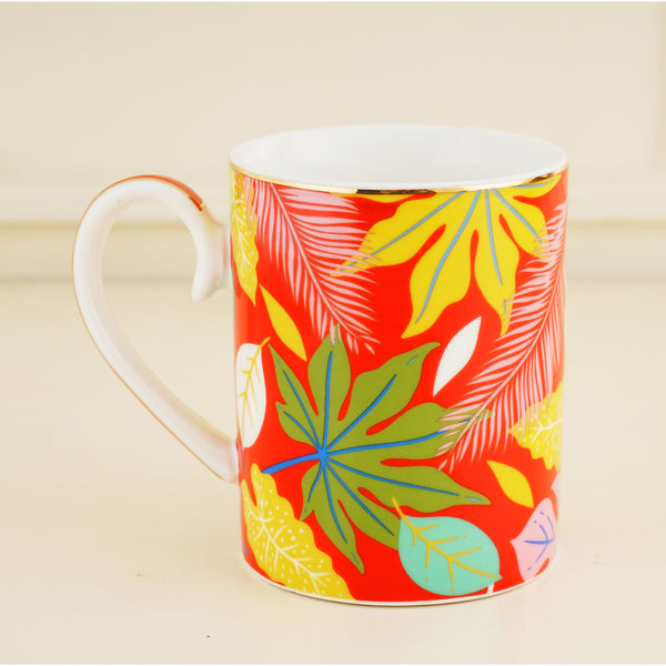 Pastel Pink & Gold Bone China Tea & Coffee Mug, with Infuser & Lid (350ml)