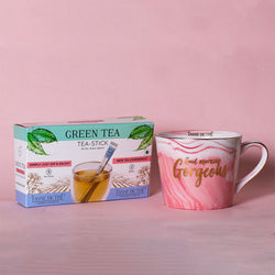 FREE Tea Stick Box with Porcelain Pink Marble Mug