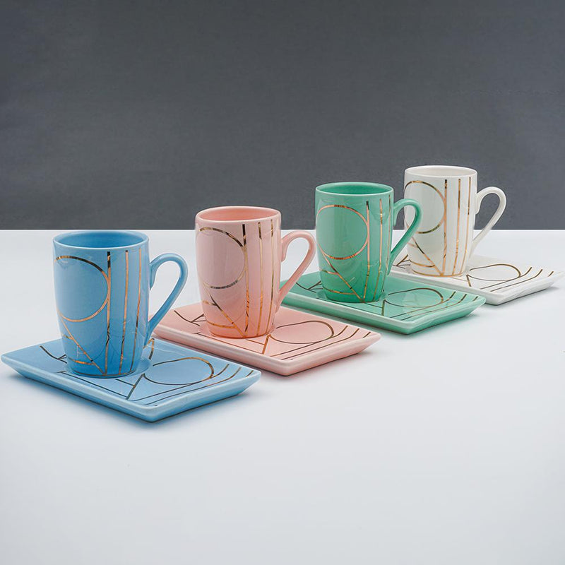 Set of 4, Pastel Pattern Bone China Mini Cup & Saucer Set (Pink, Green, Blue & White) 100 ml