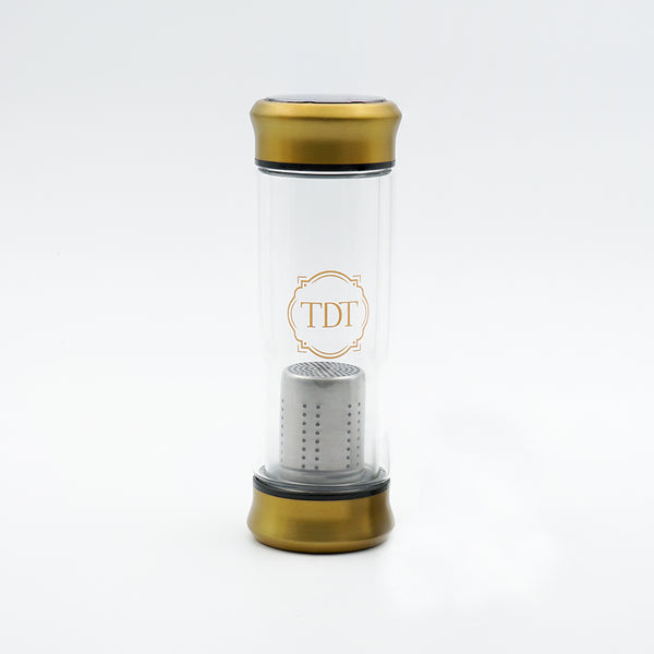 Double Walled Borosilicate Golden Cap Glass Tea Infuser, 300ml.