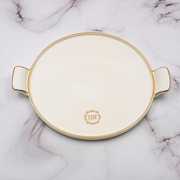 Set of 4, Elegant Porcelain White Two-Handle Side Plate with gold line