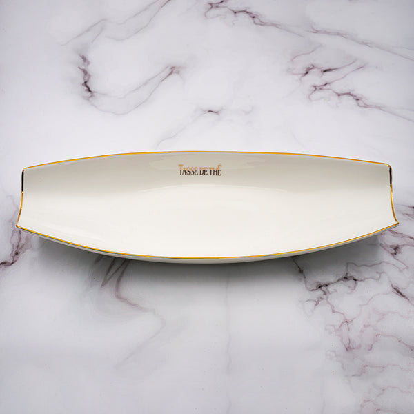 Set of 2, Elegant Porcelain White Boat Shaped Appetizers plate with golden line