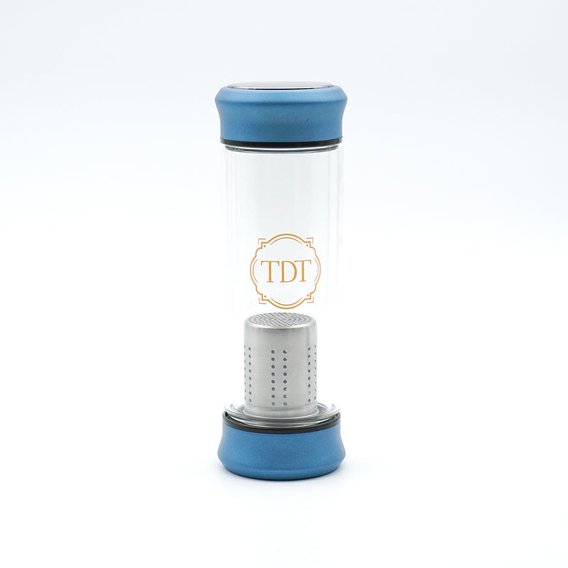 Double Walled Borosilicate Blue Cap Glass Tea Infuser, 300ml.