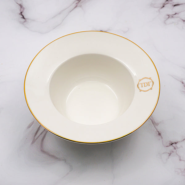 Set of 4, Elegant Porcelain White Small Soup Bowl with golden line