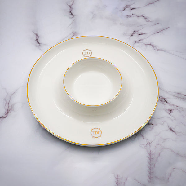 Set of 4, Elegant Porcelain White Appetizer & Dip Space Plate with golden line