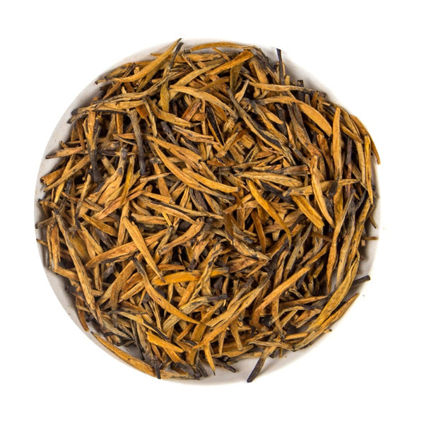 Chinese Dianhong Golden Needle Long Bud - Platine Black Loose Leaf Tea Pouch, 100G