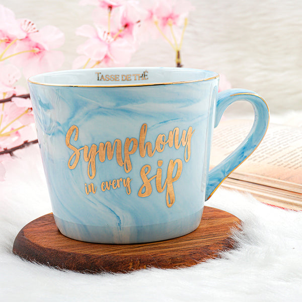 FREE Tea Stick Box with Porcelain Blue Marble Mug