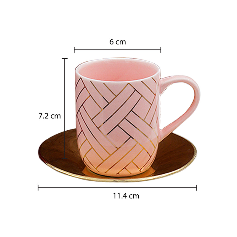 Set of 4, Geometric Pattern Cup with Golden Saucer Set (100 ml)