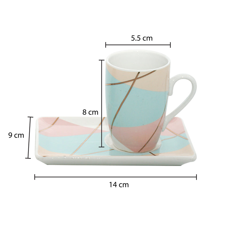 Set of 4, Geometric Bone China Pastel Mini Cup & Saucer Set (100 ml)